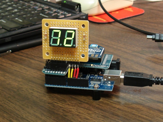 Arduino with XBee shield and LED display