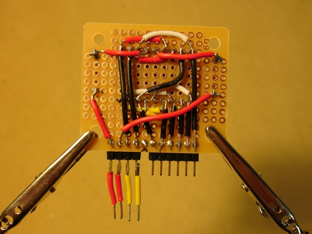 Back of LED display.  The pin positions are designed to fit the XBee shield.
