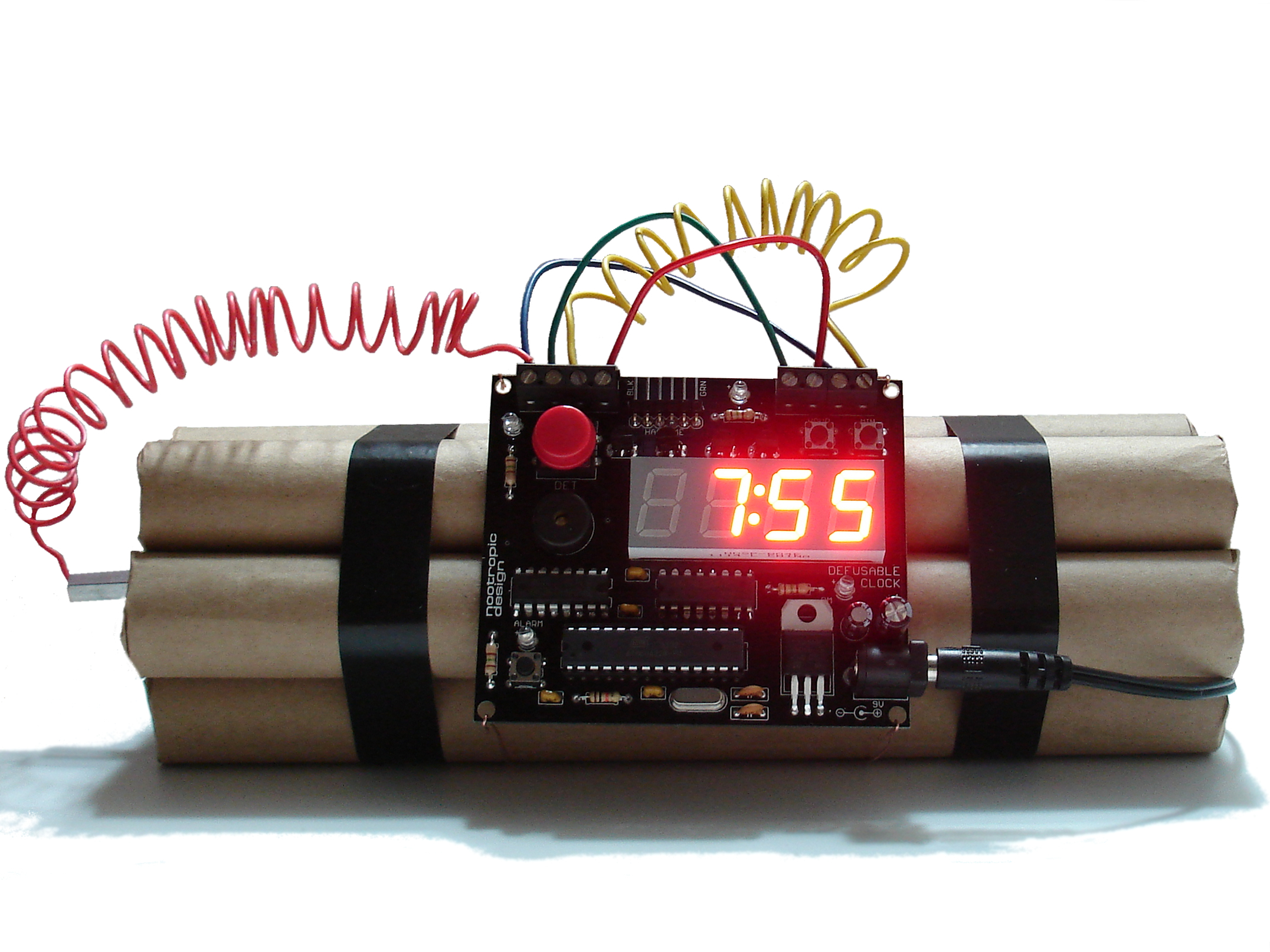 Project Lab Digital Clock Circuit Electronics Forum Circuits Projects And I Thought It Would Be Fun To Build An Alarm That Looks Just Like The Type Of Bomb We Always See In Hollywood Movies